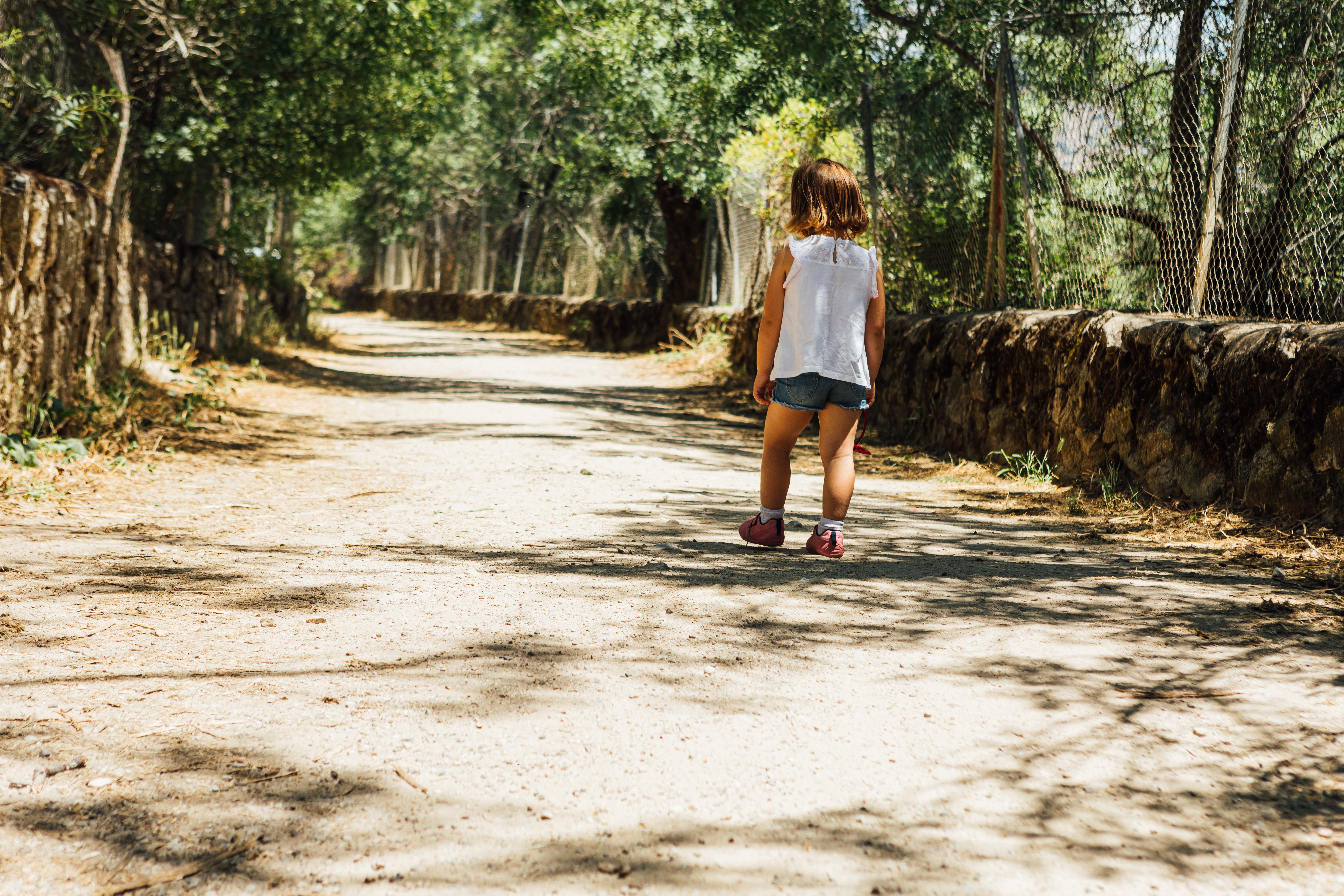 Little girl walking on a dirt road in summer